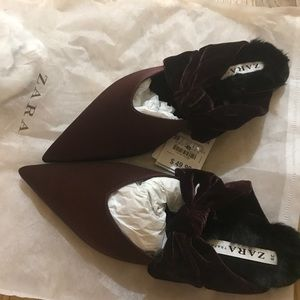 Zara VELVET BACKLESS SHOES WITH BOW